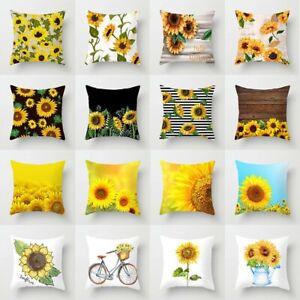 Pillow Case Sofa Car Waist Throw Cushion Cover Home Decoration Summer Sunflower