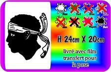 sticker tete corse - corsica - maure 24x20cm