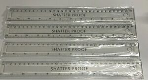 """5 X CLEAR PLASTIC RULERS 30cm 12""""inch FLEXIBLE SHATTER RESISTANT LIGHTWEIGHT"""
