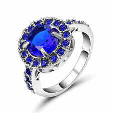 Jewelry Blue Sapphire 18K white Gold Filled Women's Wedding Engagement Ring Sz 6