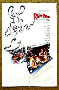 """""""WHO FRAMED ROGER RABBIT"""" -- a man, a woman AND A RABBIT??? -- 1988 poster 27x41"""