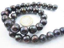 1 filo di perle grigie tondeggianti semigrezze di 12 mm coltivate  acqua di mare