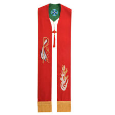 Clergy Green / Red Reversible Stole Church Pastor Mass Stole with Birds Cross