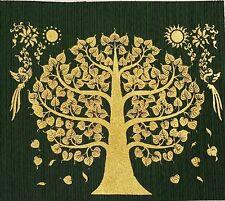 Gold BODHI TREE Thai Art Silk Painting Poster Print Asian Home Decor Handmade