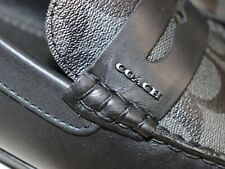 NIB $228 COACH Size 10.5 Men's Black Leather MOTT DRIVER Moc Loafer