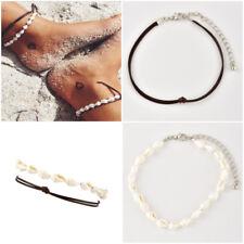Beach Women Shell Conch Bracelet  Foot Chain Anklet Sandal Simple Jewelry set 2