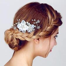 2Pcs Elegant Bridal Hair Comb Silk Flower Crystal Headpiece Wedding Accessory
