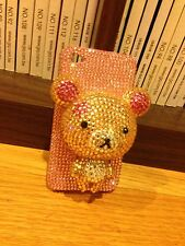 CC4DPR NEW IPHONE 4 4S 4G 4GS RILAKKUMA BEAR LIGHT PINK CRYSTAL STYLE HARD CASE