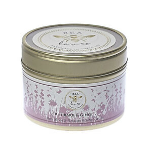 Bea Loves Scented Soy Wax & Pure Beeswax 130g Candle in a Tin: Rhubarb & Ginger