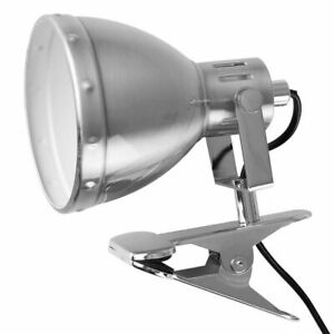 240v CHROME Clamp on Lamp LED Bulb Adjustable reading Light Delivery Included