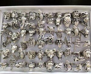 Bulk lots 50pcs Dragon Elephant Snake Owl Animal Skull Men Punk Rocker Rings