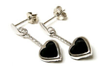 9ct White Gold Sapphire Heart Dangly Long Drop Earrings Made in UK Gift Boxed