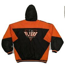 90s Logo 7 Nhl Philadelphia Flyers Men's Hooded Puffer Zip Jacket size L Vintage