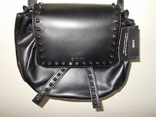 NEW $305 DKNY Black Leather Shoulder Crossbody Handbag BAG Purse NWT