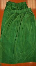Pair of Billiard Green Felt Velvet Curtains with (11) Pinch Pleats
