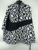Nike AOP Big Swoosh Half Zip Jacket Men's Size L Large Black / White A00862 100