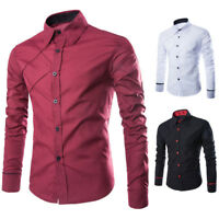 Business Mens Casual Shirts Formal Party Cotton Long Sleeve Slim Fit T-shirt New