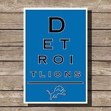 "Detroit Lions Art Football NFL Eyechart Poster Man Cave Decor 12x16"""