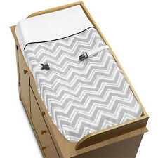 Sweet Jojo Changing Table Pad Cover for Black Gray Zig Zag Chevron Baby Bedding