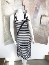 Hot Topic Black White Striped Lace Up Stretch Sleeveless Dress (I) Size Small