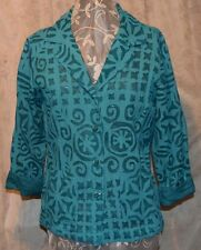 NORM THOMPSON STUNNING HAND STITCHED APPLIQUE POCKETS BUTTONS DOWN BACK JADE LAR