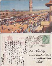 INDIA OLD JEYPORE STREET SCENE REGIMENT MARCHING PPC TO CALCUTTA