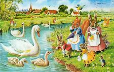 RACEY HELPS THE CYGNETS SWANS SQUIRRELS MOUSE RABBITS ANIMAL FANTASY