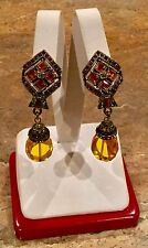 """HEIDI DAUS"" VINTAGE SWAROVSKI CRYSTAL CITRINE DROP DANGLE"