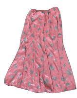 Nora Noh Pink Grey Silk Midi Drop Waist Skirt Size 10