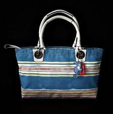 NEW Coach Nautical Beach Multi Stripe E/W Tote Bag Purse w/ Cute Seahorse Charm