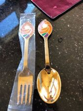 1971 A. Michelsen Sterling Gilt Enamel Christmas Spoon Fork Set
