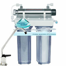 UNDER SINK DUAL WATER FILTRATION SYSTEM CARBON/KDF SEDIMENT WITH UV LIGHT