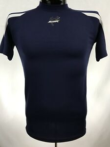 AKRON ZIPS Mens Workout Shirt Size S Blue Performance Polyester S/S NCAA
