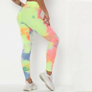 Womens Yoga Gym Tie-Dye Pants Slim Leggings Fitness Butt Lift Elastic Pants