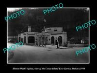 OLD LARGE HISTORIC PHOTO OF HINTON WEST VIRGINIA, CONEY ISLAND GAS STATION c1940