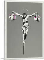 ARTCANVAS Jesus Christ With Shopping Bags Canvas Art Print by Banksy