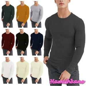 Mens Boys Long Sleeve Crew Neck Jumper Cable Knitted Casual Sweater Pullover