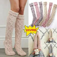 Women Winter Cable Knit Over Knee Long Boot Thigh-High Warm Socks Leggings HOT