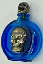 Rare antique Victorian Cobalt Blue glass Poison bottle.Silver Skull shape cap