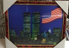"World Trade Center Picture Framed 3D Twin Towers 13.5"" X 10.5"" New #2"