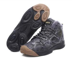 Mens Fashion Camo Fleeced Non Slip Winter Snow Boots Outdoor Activity Shoes SKGB