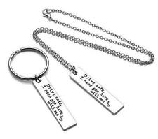 2 PCS of set Alloy Necklace and KeyRing Couple Family Love Chain Gift Novelty