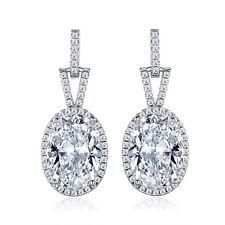 HUCHE Retro 30mm Oval Diamond Clear Sapphire Silver Gold Filled Women Earrings