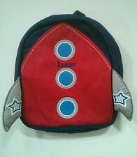 Pottery Barn Kids Preschool Mini Blue Red Rocket Backpack name ISAAC New!