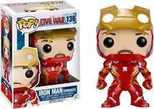 "Esclusiva Marvel GUERRA CIVILE UNMASKED IRON MAN 3.75"" Figura in Vinile Pop Funko 136"