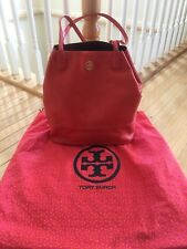 Tory Burch Medium - Large Orange Pebbled Leather Michelle Tote Hand Bag