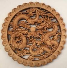 CHINESE HAND CARVED SHUANGLONG STATUE CAMPHOR WOOD ROUND PLATE WALL SCULPTURE