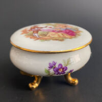 Vintage Castel Limoges France Porcelain Lidded Floral Courting Couple Footed Box