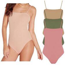 New Womens Ribbed Cami Strappy Sleeveless Body Top Leotard Bodysuit 8-26