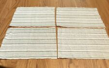 """New listing 4 Rectangular Green White Striped 18"""" x 12� Woven Fabric Placemats"""